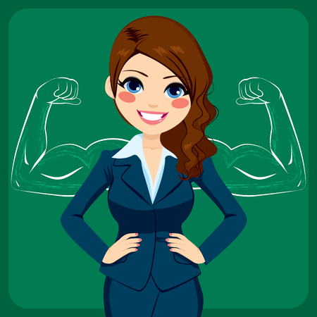 Pretty young beautiful businesswoman with hands on hips in front of strong and muscled arms sketch drawing
