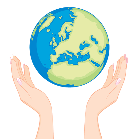 Ecology concept of beautiful woman hands holding earth globe with care