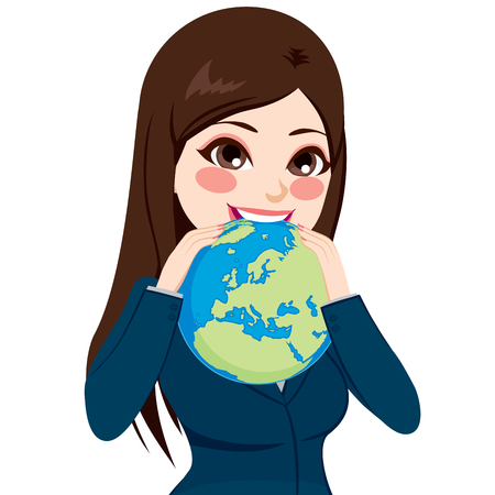 brunet: Beautiful young brunette businesswoman eating the world showing funny success and ambition concept Illustration