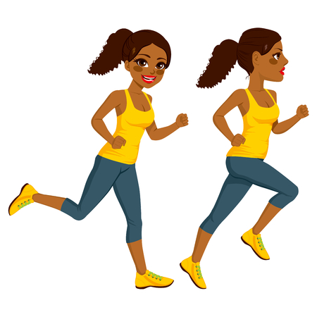 african cartoon: Beautiful young African American athlete runner woman on two different running action isolated on white background