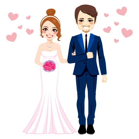 couple together: Beautiful young bride and groom couple standing together with pink hearts Illustration