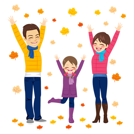 woman arms up: Happy family together on autumn playing with leaves Illustration