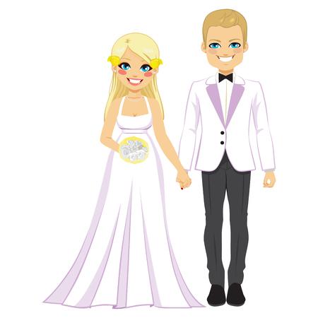 bonito: joven hermosa rubia novia y el novio tomados de la mano pareja el día de boda