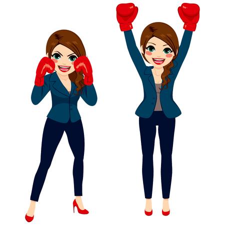 sexo femenino: Joven morena de negocios en dos acciones diferentes listo para luchar competición concepto aislado en el fondo blanco