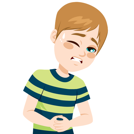 Little boy touching his belly suffering stomachache pain Ilustração