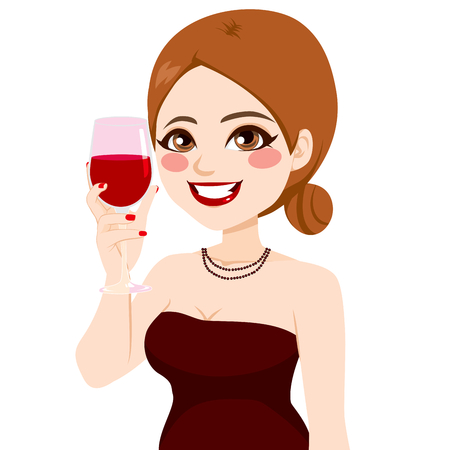 toasting: Attractive happy smiling woman toasting with wine glass Illustration