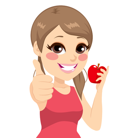 thumb up: Beautiful young teenager girl with red apple and thumb up Illustration