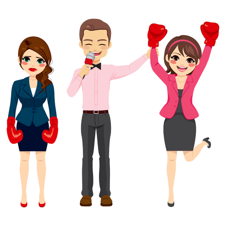 combat: Successful businesswoman winner of business combat against another businesswoman for success concept
