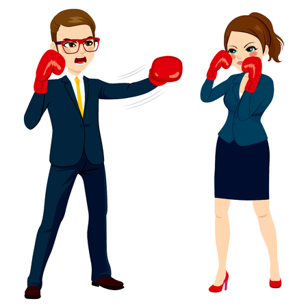 young businesswoman: Young businessman fighting against businesswoman with red globes as business competition concept