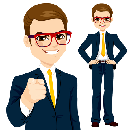 young worker: Professional businessman wearing suit and pointing finger Illustration