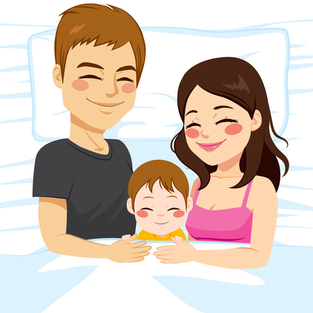 woman lying in bed: Cute young little family of father mother and baby son together sleeping