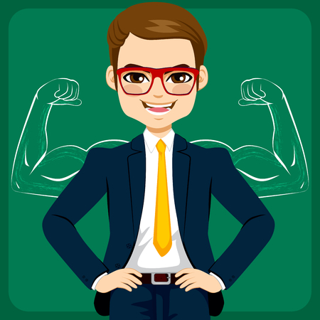 muscled: Attractive young businessman with hands on hips in front of strong and muscled arms sketch drawing