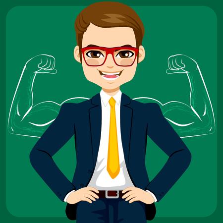 Attraente giovane uomo d'affari con le mani sui fianchi di fronte a una forte e braccia muscolose schizzo di disegno