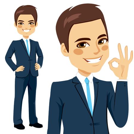 okay: Smiling businessman showing an okay hand sign