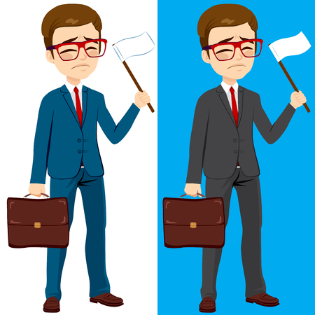 fear of failure: Young businessman with two different color version waving white flag surrender concept Illustration