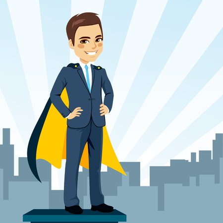 Confident young businessman hands on hips with cape hidden secret identity as super hero