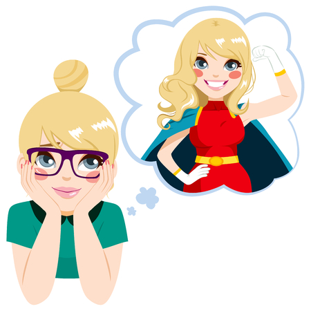 Cute nerd teenager girl dreaming about becoming a powerful super woman heroine Stock Illustratie