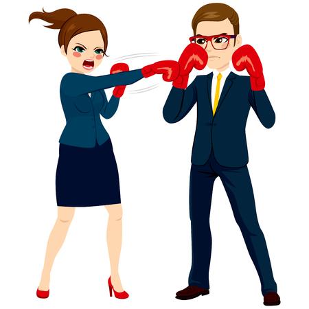 irrespeto: Joven negocios y la lucha contra el hombre de negocios con globos rojos como concepto de competencia empresarial