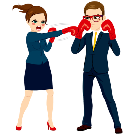 Young businesswoman fighting against businessman with red globes as business competition concept