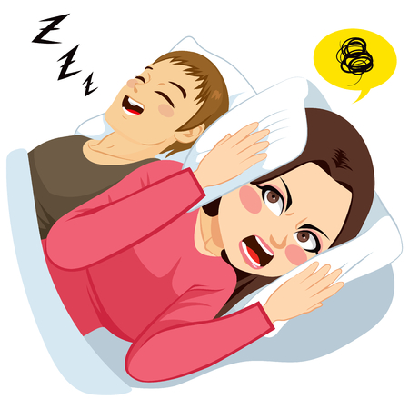 Woman covering ears with white pillow while man is making loud noise snoring in bed Illustration