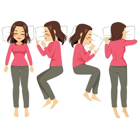 durmiendo: Conjunto de ilustración de la mujer en cuatro poses diferentes para dormir Vectores