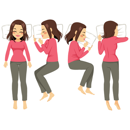 Illustration set of woman in four different sleeping poses