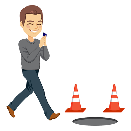 fall about: Illustration of smartphone addiction concept with man checking phone about to fall in a manhole