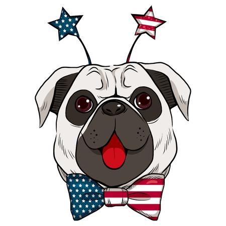 7 月を示す大きな赤い舌と米国旗の星鉢巻きアクセサリの 4 日を祝う犬  イラスト・ベクター素材