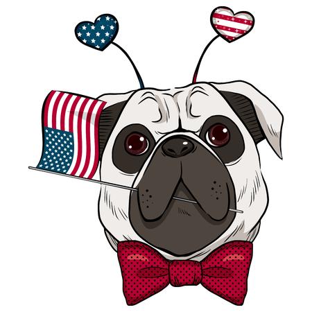 celebrating: Dog celebrating 4th of July holding United States flag in mouth and hearts headband accessory Illustration