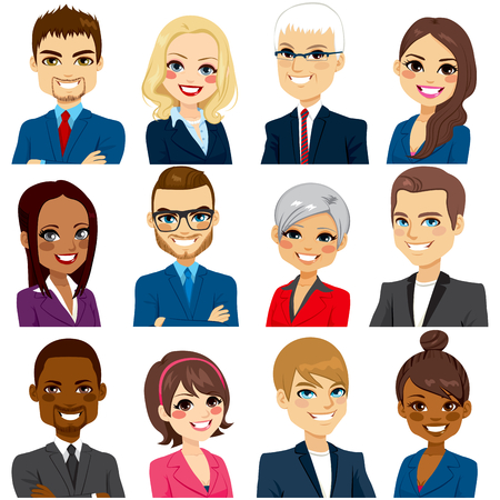 Set of business people avatar collection of workers team