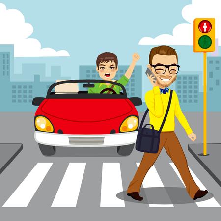 conductor enojado en el coche descapotable rojo gritando al hombre distraído con el teléfono inteligente, mientras que el paso de peatones con el semáforo en rojo