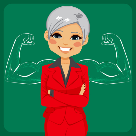 powerful: Senior beautiful businesswoman with arms crossed in front of strong and muscled arms sketch drawing