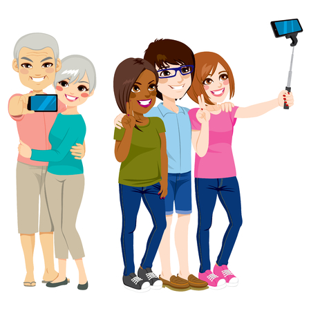 taking picture: Set of people taking selfie portrait with smartphone