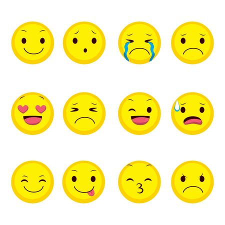 Cute emoji collectie van twaalf verschillende expressie Vector Illustratie