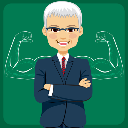 muscled: Senior businessman standing in front of strong and muscled arms sketch drawing concept