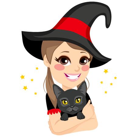 big hat: Beautiful teenage witch with big hat hugging magical black cat pet