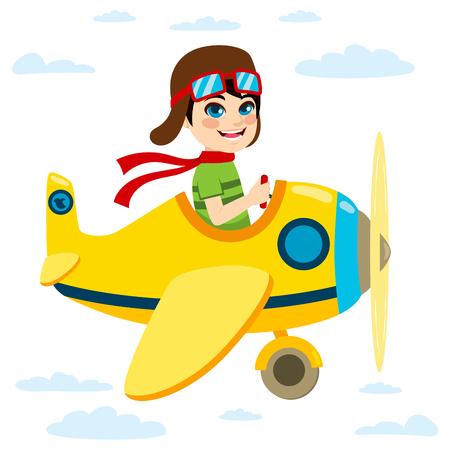 kid illustration: Cute little kid flying a plane on sky