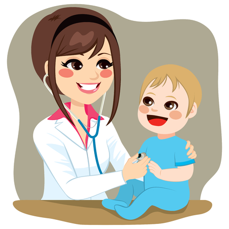 Pediatrician doctor examining baby boy on a visit