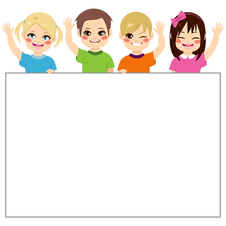 Four young children with white banner waving hand saluting Illustration