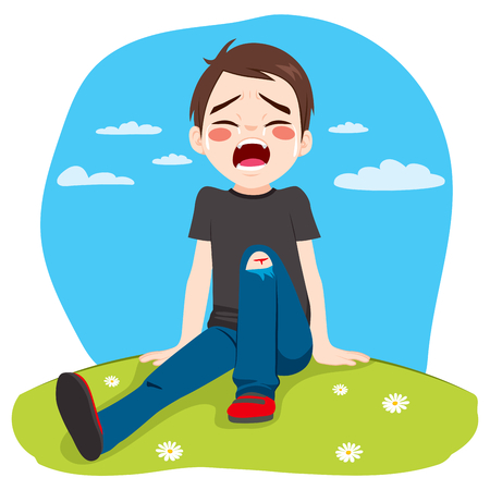 whine: Little boy hurt crying after falling in park