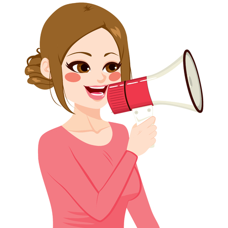 woman speaking: Young woman speaking holding megaphone advertising concept