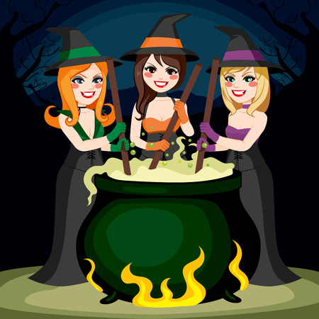 brew: Three Halloween witches cooking potion brew in cauldron together Illustration