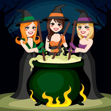 pocion: Tres brujas de Halloween de cocina Elaborar poci�n en el caldero junto Vectores