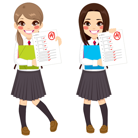 test results: Young student girls showing exam with good test results Illustration