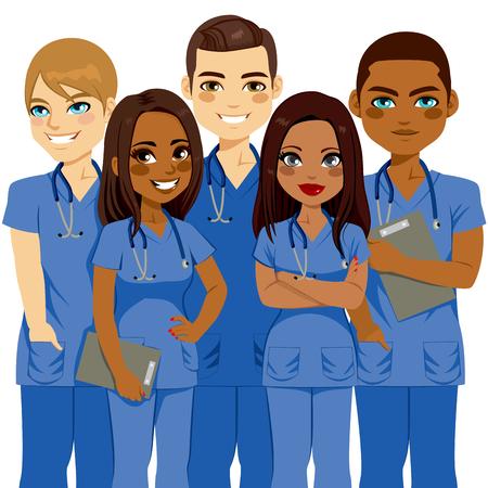 Młoda różnorodność samiec i samica Zespół pielęgniarki Ilustracje wektorowe