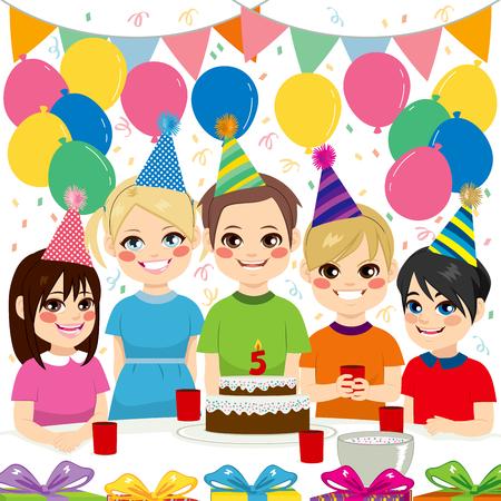 thrilled: Cute children having fun on birthday party