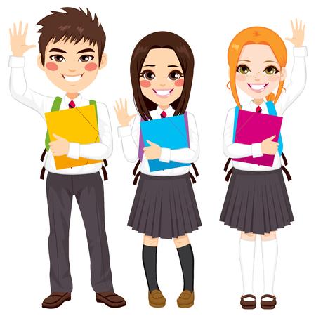 uniformes: Grupo de jóvenes de estudiantes de adolescente feliz de pie agitando las manos que sostienen carpeta Vectores