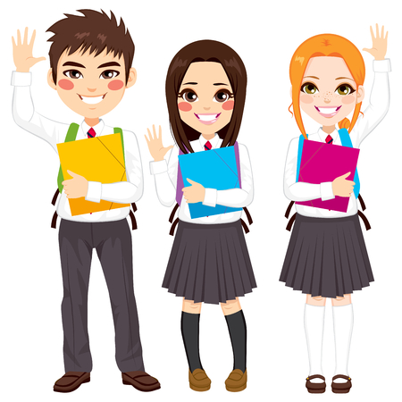 Young group of happy teenager students standing waving hands holding folder