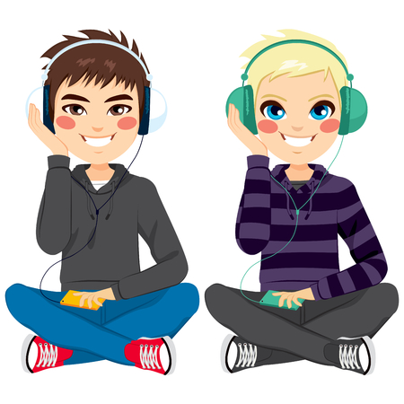 Young boys on casual clothes sitting on floor listening to music with headphones