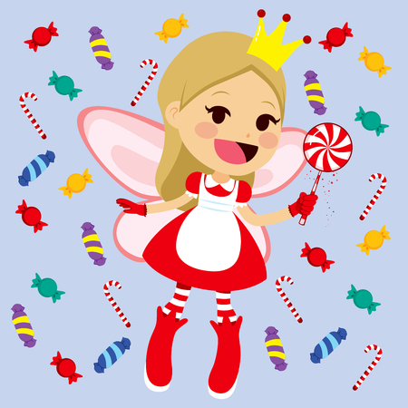 fairy wand: Cute little red candy fairy with magic lollipop wand